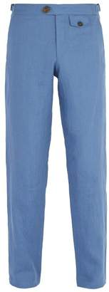Oliver Spencer Linton Straight Leg Linen Trousers - Mens - Blue
