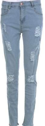 ISAKO Men's Straight Denim Jeans Trousers Slim Ripped Jean Skinny Biker Pants
