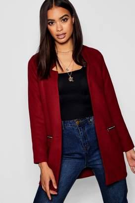 boohoo Zip Pocket Wool Look Coat