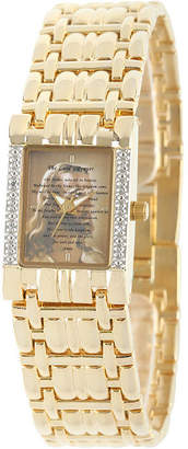 FINE JEWELRY Personalized Womens Diamond-Accent Gold-Tone The Lords Prayer Bracelet Watch