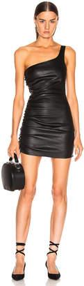 Sprwmn Shirred One Shoulder Dress in Black   FWRD