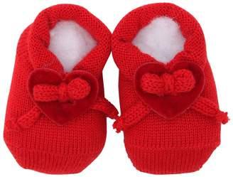 La Perla Wool Knit Socks W/ Velvet Hearts