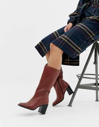 Asos Design DESIGN Clara square toe knee boots in leather