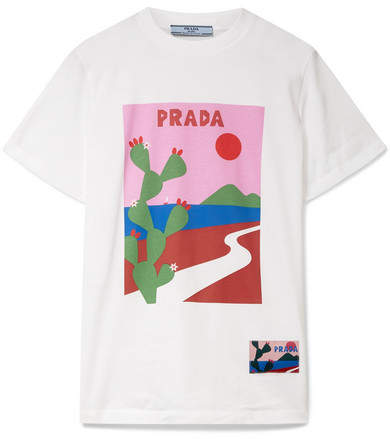 Prada - Printed Cotton-jersey T-shirt - White