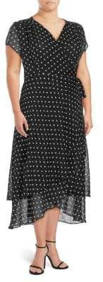 ABS by Allen Schwartz Plus Polka Dot Wrap Dress