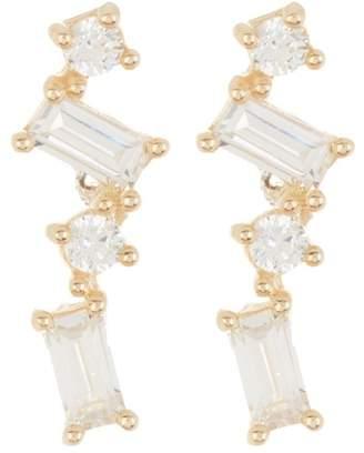 Candela 14K Yellow Gold Baguette CZ Earrings