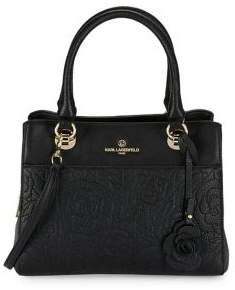 Karl Lagerfeld Paris Floral Leather Crossbody Bag