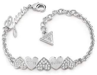 GUESS Pave & Plain Heart Bow Bracelet
