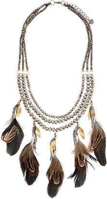 Nakamol Triple-Strand Feather Charm Necklace