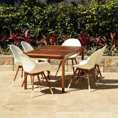 Amazonia 7pc Metz Rectangular Eucalyptus Patio Dining Set White
