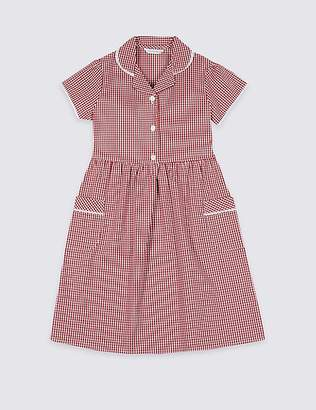 Marks and Spencer Girls' Plus Fit Gingham Pure Cotton Dress