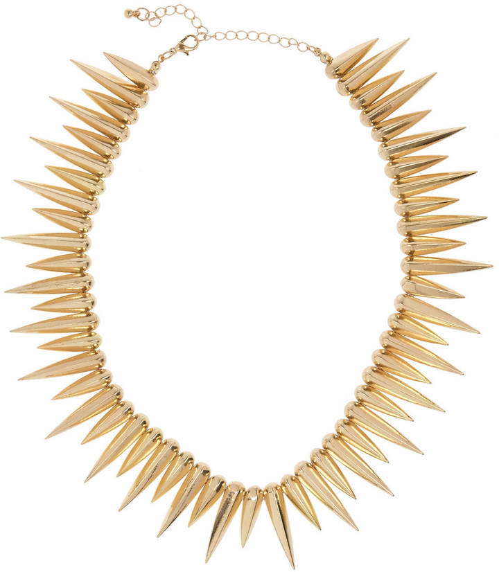 Noir Gold-plated spike necklace