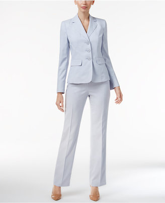 Le Suit Three-Button Melange Textured Pantsuit $200 thestylecure.com