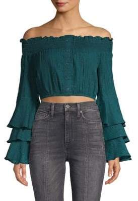 Red Carter Off-The-Shoulder Cropped Top