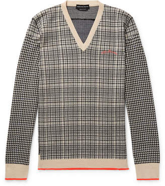 Alexander McQueen Houndstooth and Checked Wool Sweater - Men - Gray
