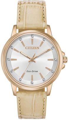 Citizen Eco-Drive Women's Chandler Beige Leather Strap Watch 37mm