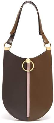 Marni - Earring Medium Leather Bag - Womens - Khaki Multi