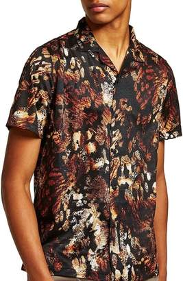 Topman Animal Jacquard Print Camp Shirt