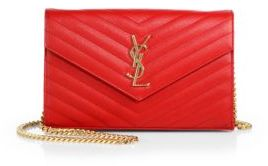 Saint Laurent Saint Laurent Monogram Medium Grained Matelasse Leather Chain Wallet $1,550 thestylecure.com