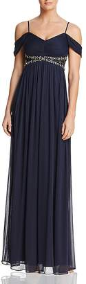 Decode 1.8 Draped Cold-Shoulder Gown