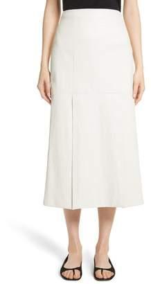 Rosetta Getty Lambskin Leather Midi Skirt