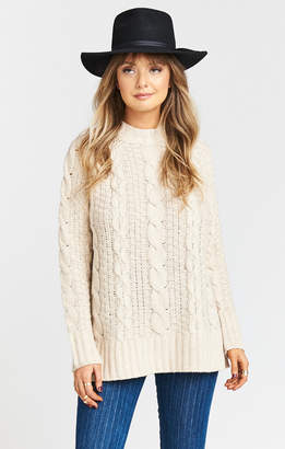 Show Me Your Mumu Clark Cable Knit Sweater ~ White Truffle