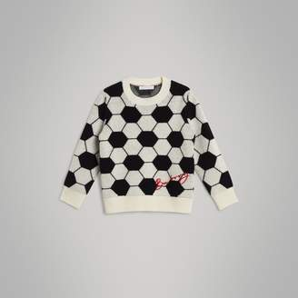 Burberry Childrens Football Intarsia Cashmere Wool Cotton Sweater