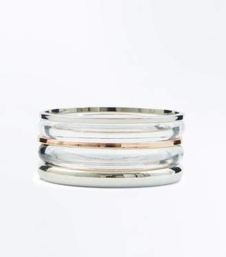 New Look Clear and Metallic Bangle Pack