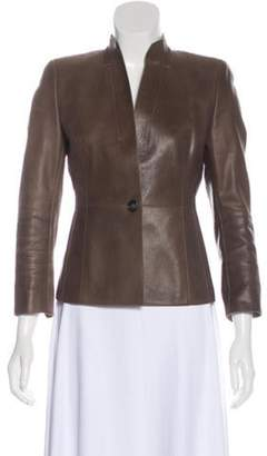Akris Leather Structured Jacket Brown Leather Structured Jacket