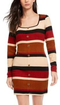Ultra Flirt Juniors' Striped Button-Front Knit Dress