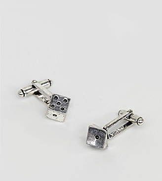 Reclaimed Vintage inspired cufflinks with dice design in silver exclusive at ASOS