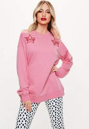 Missguided Pink Baby Girl Star Embroidered Sweatshirt