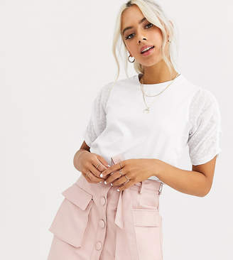 Asos DESIGN Petite t-shirt with dobby ruched sleeve