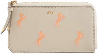 Chloé Embroidered Leather Zip Card Case