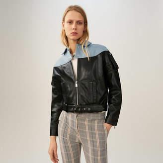 Maje Leather-denim blend jacket