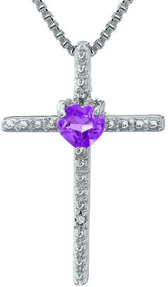 Silver Cross FINE JEWELRY Genuine Amethyst and Diamond-Accent Sterling and Heart Pendant Necklace