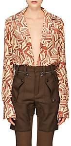 Chloé Women's Geometric Silk Blouse - Brown Pat.