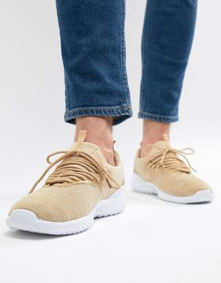 New Look Knitted Sneakers In Stone