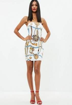 Missguided White Chain Print Strapless Denim Dress