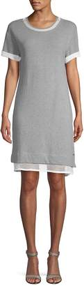 Andrew Marc Performance Women's Mesh-Paneled Cotton T-Shirt Dress