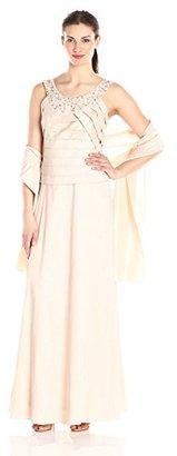Jessica Howard Women's Mock 2pc Pleated Bodice Dress Long $168.99 thestylecure.com