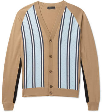 Prada Laser-Cut Striped Virgin Wool Cardigan
