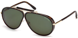 TOM FORD Cedric Oversized Aviator Sunglasses $475 thestylecure.com