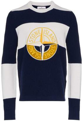 Stone Island wool crew neck logo stripe jumper