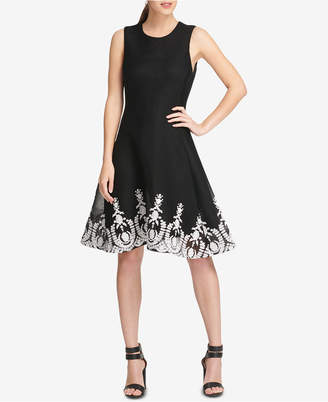 DKNY Sleeveless Embroidered Fit & Flare Dress