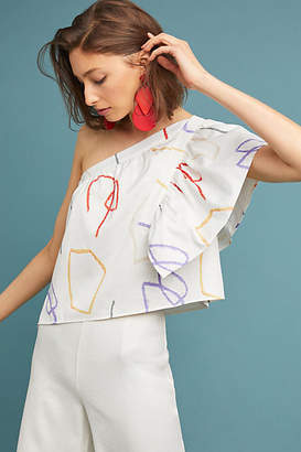 Where Mountains Meet Graphic One-Shoulder Blouse