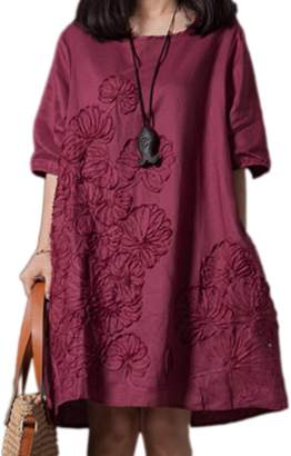 Zilcremo Women Short Sleeve Embroider Casual Cotton Linen Swing Tunic Dress Plus Size 3XL