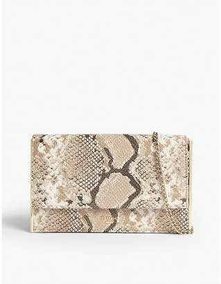 Dune Binkiie snake-embossed faux-leather clutch bag