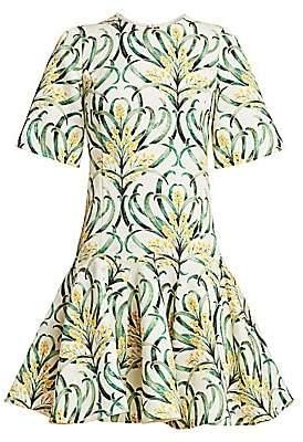 Oscar de la Renta Women's Short-Sleeve Mimosa Stem Fit-&-Flare Dress