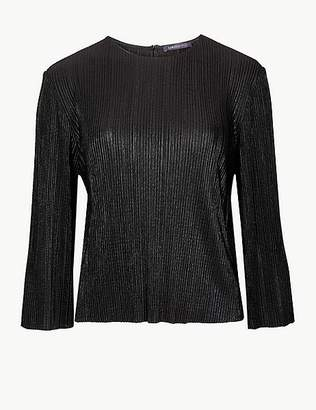 Marks and Spencer Textured Cropped Round Neck Long Sleeve Top